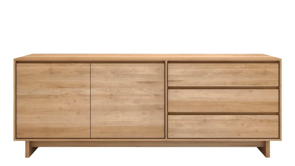 Solid Oak Wave 2 x Door/ 3 x Drawer Sideboard